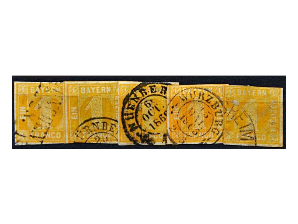 Bayern, 1862, 1Kr žlutá, 5 kusů - odstíny, razítko