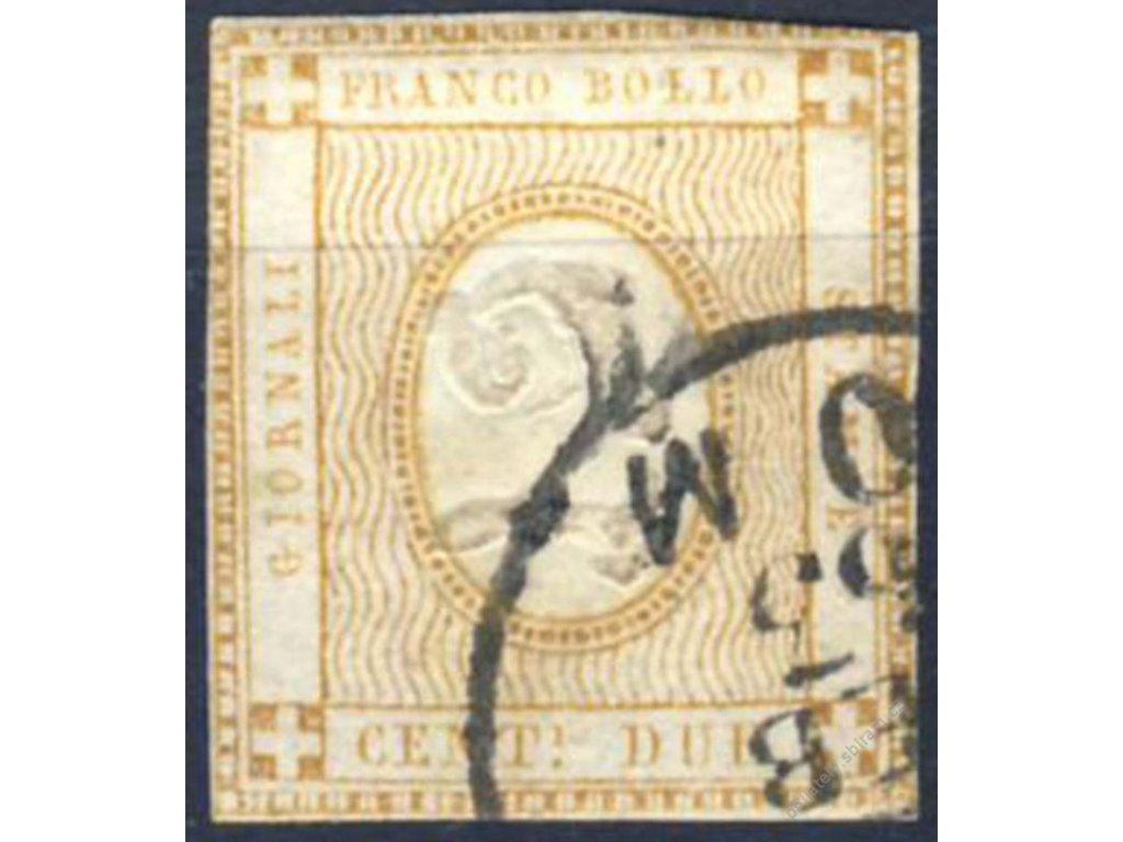 1862, 2C okrovožlutá, Mi.90Euro, MiNr.13, razítko
