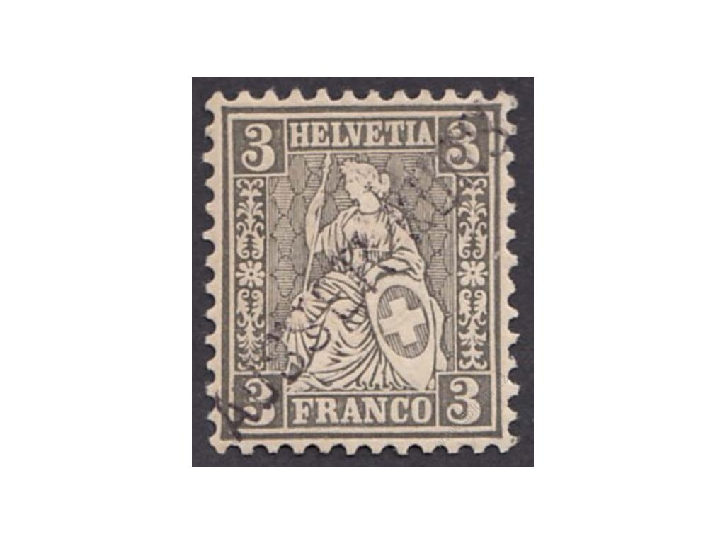 1862, 3C Helvetia s přetiskem AUSSER KURS, * po nálepce