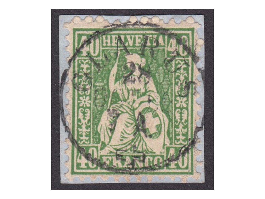 1862, 40C Helvetia, MiNr.26, razítkované, výstřižek