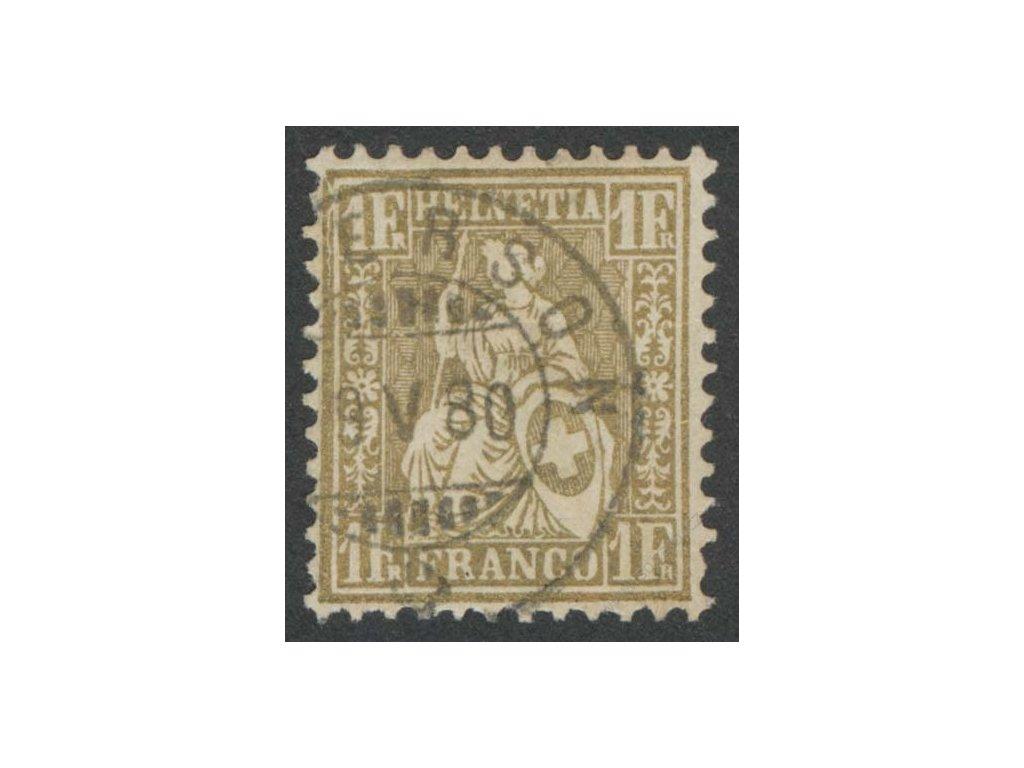 1862, 1Fr Helvetia, MiNr.28, razítkované