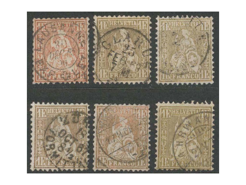 1862, 1Fr zlatá Helvetie, 6 ks - odstíny, razítkované