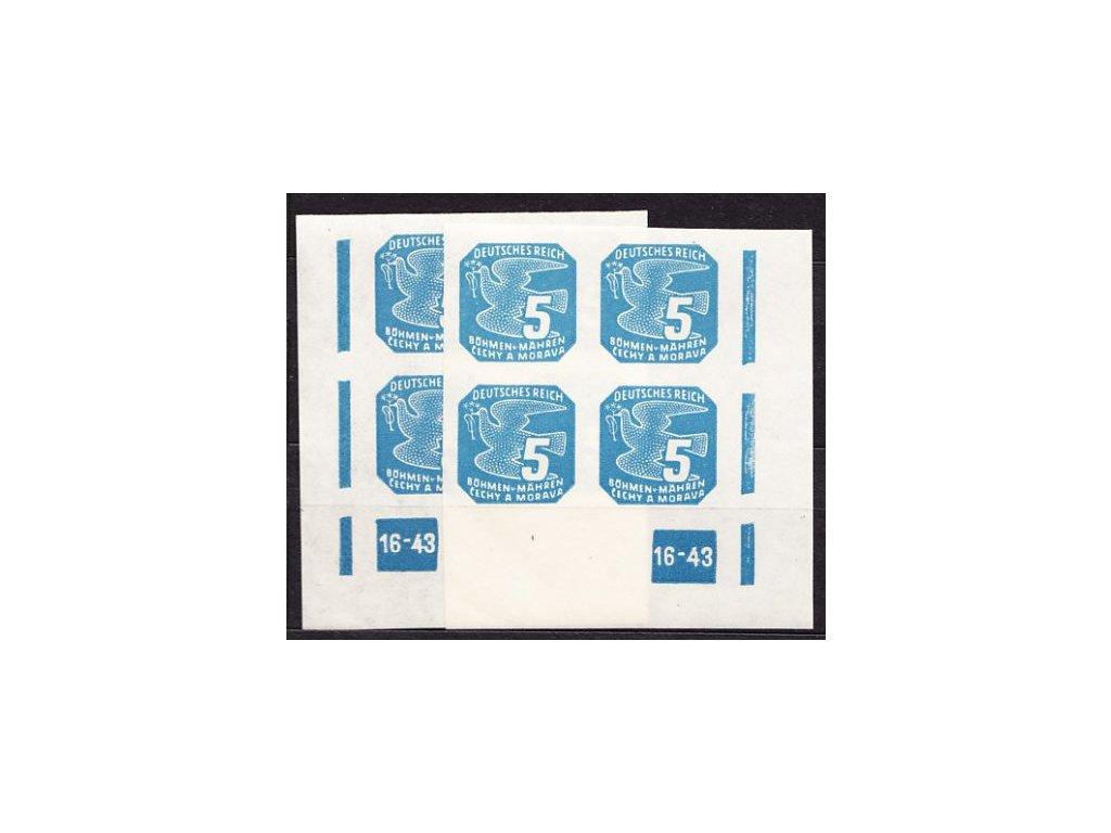 1943, 5h modrá, 2krát rohový čtyřblok s DČ 16-43, Nr.NV.11, **