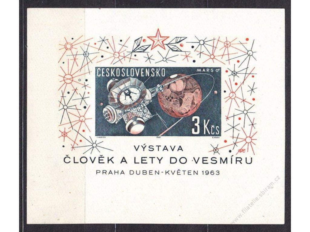 1963, aršík 3Kčs Vesmír, I.typ, Nr.A1308, **