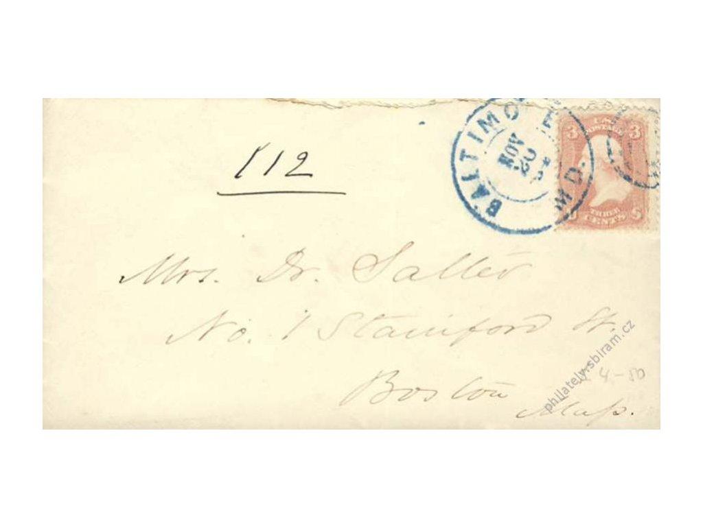 USA, 1864, DR Baltimore, dopis vyfr. zn. 3C