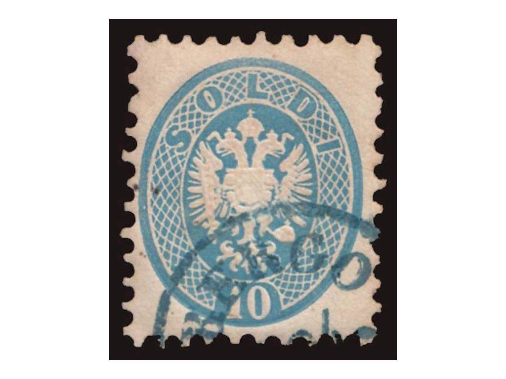 Lombardsko, 1864, 10So Orlíček, modré razítko, MiNr.22