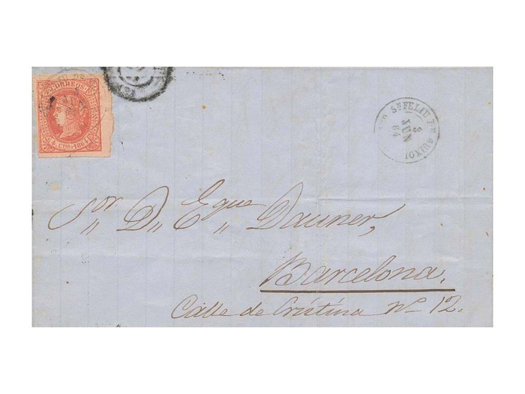 1864, DR S.Feliz, skládaný dopis vyfr. zn. 4C Isabela