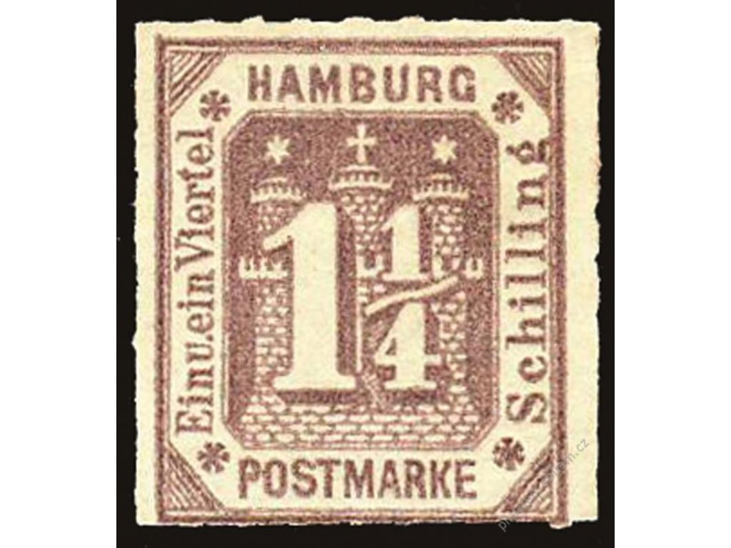 Hamburg, 1866, 1 1/4S fialová, Mi.110Euro, **