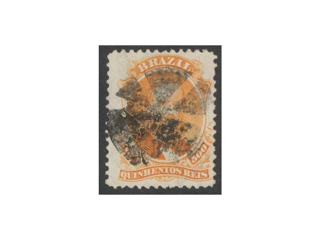 Brasílie, 1866, 500R Pedro, razítkované, lom v růžku