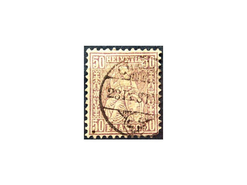 1867, 50C Helvetia, MiNr.35, razítkovaná