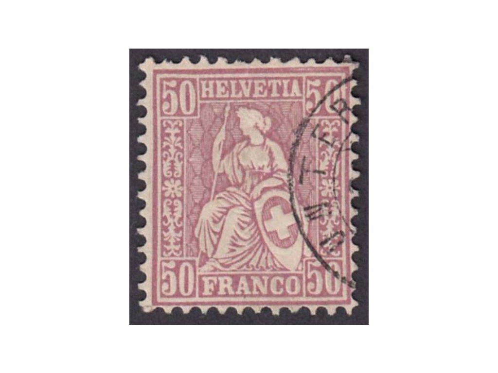 1867, 50C Helvetia, MiNr.35, razítkované, dv