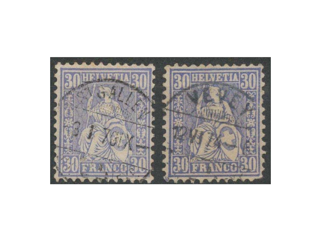 1867, 30C Helvetia, 2 ks - odstíny, razítkované, dv