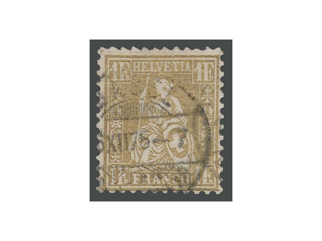 1867, 1Fr Helvetia, MiNr.28, razítkované
