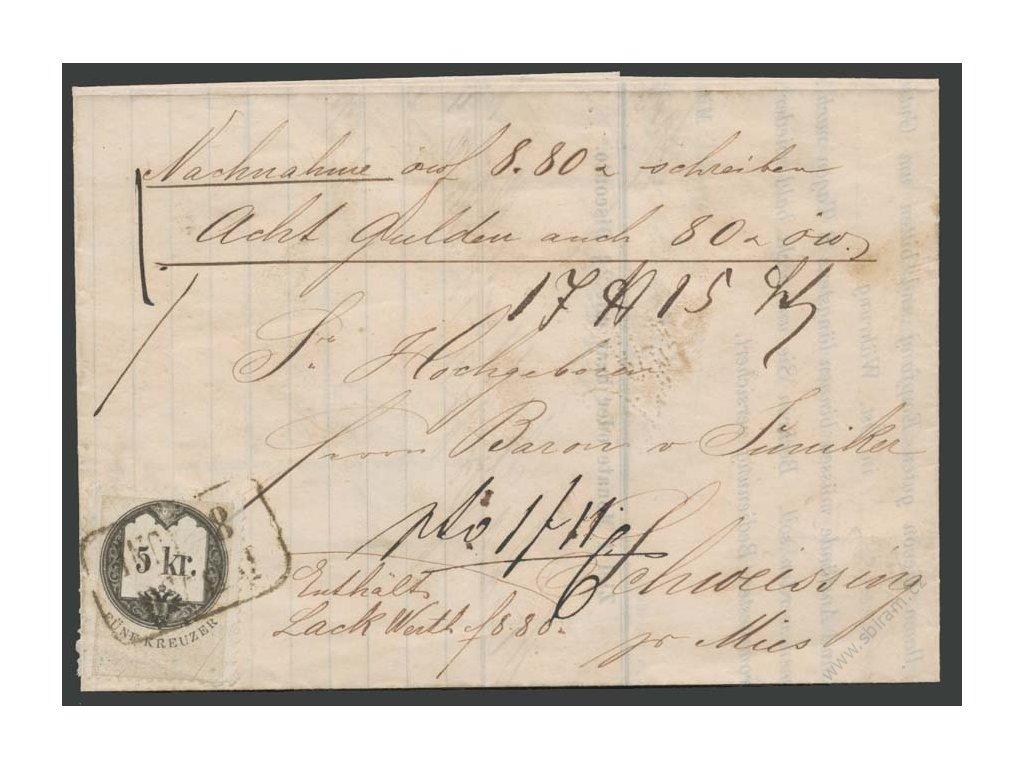 1868, DR Prag, nákladní list, skládaný dopis, stopy provozu
