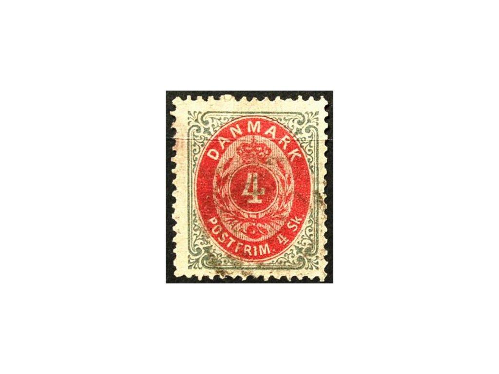 1870, 4S šedá/červená, razítkovaná známka