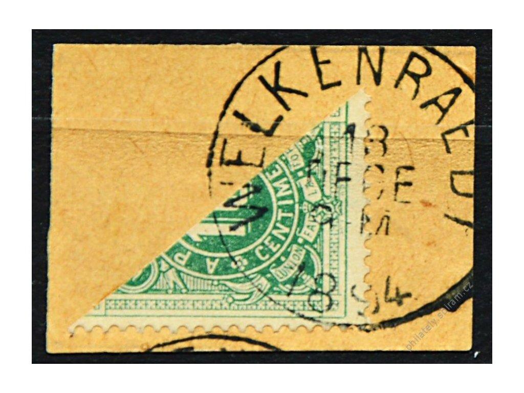 1870, 10C doplatní, půlená frankatura, výstřižek