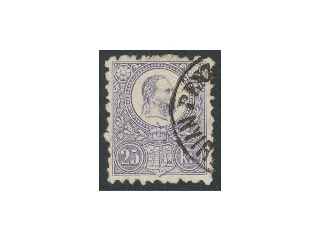 1871, 25K Franc Josef, MiNr.13, razítkované, lom v růžku