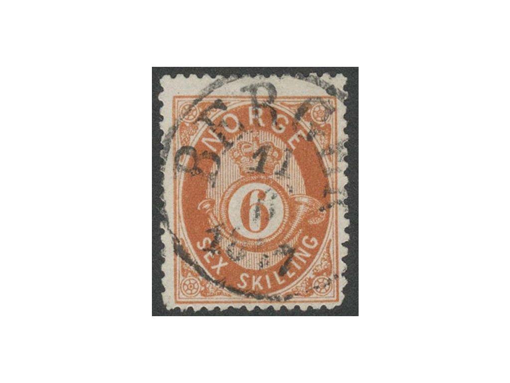 1872, 6Sk hnědá, MiNr.20, razítkované