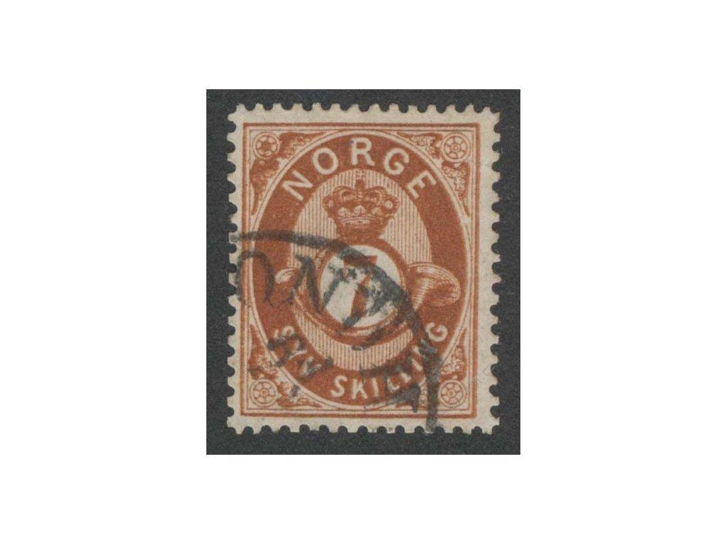 1872, 7Sk tmavě hnědá, razítko, natrženo nepatrně