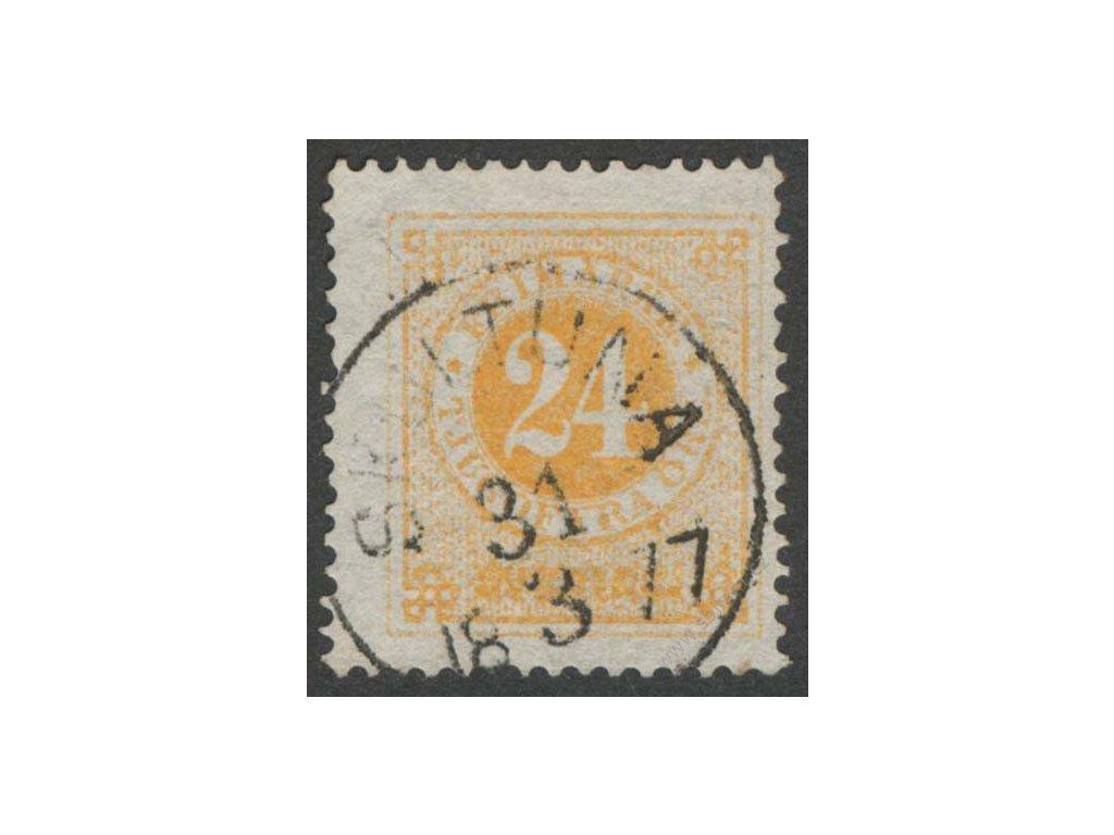 1872, 24Ö žlutá, MiNr.23A, razítkované, dv růžek