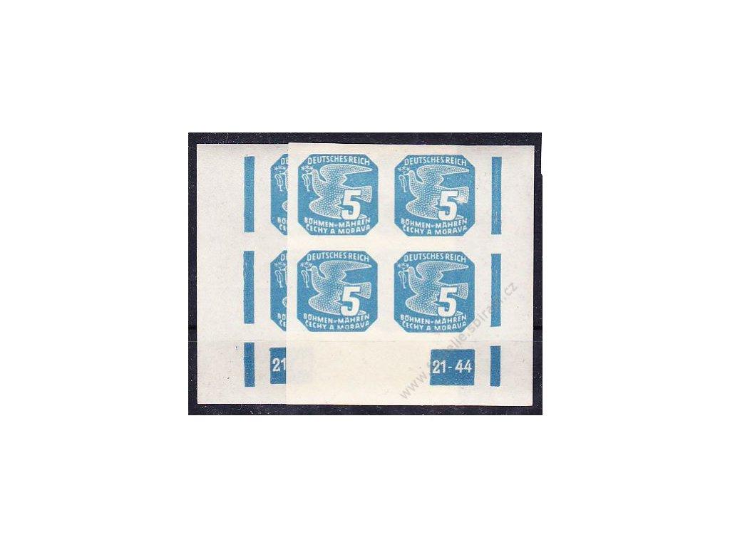1945, 5h modrá, 2 roh. 4bloky s DČ 21-44, L+P, Nr.NV11, **