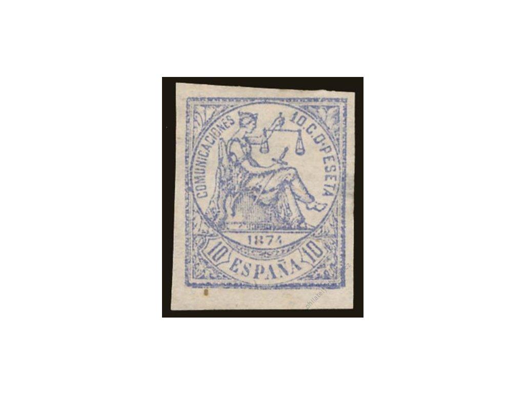 1874, 10C Alegorie, nezoubkované, MiNr.137U, (*)