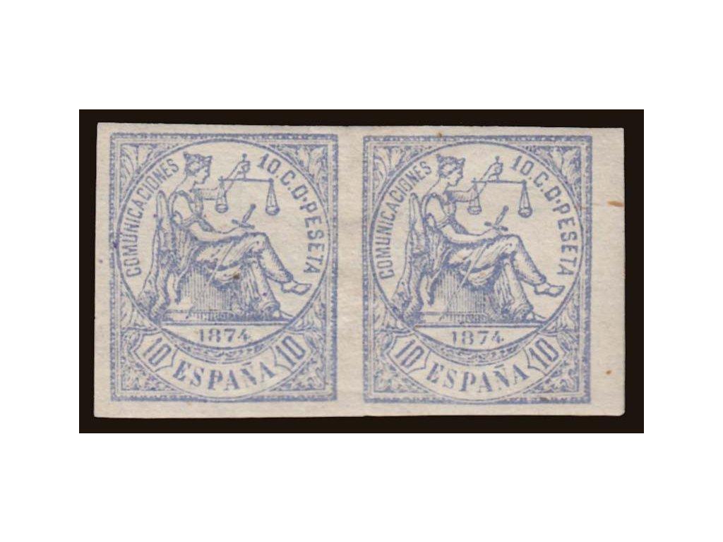 1874, 10C Allegorie, nezoubkovaná 2páska, MiNr.137U, těžší *