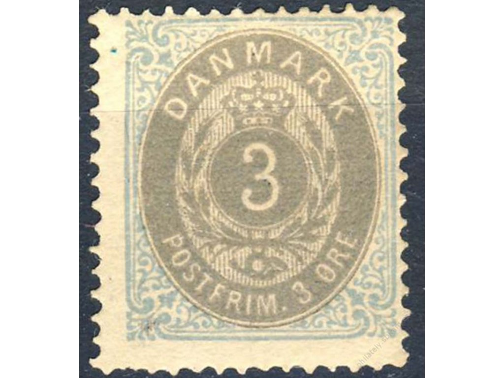 1875, 3Q modrá/šedá, MiNr.22IIYA, těžká *