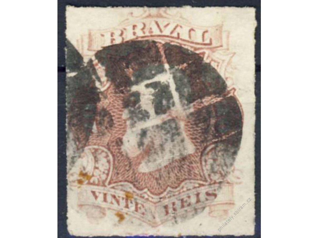 Brasilie, 1876, 20P Pedro, MiNr.31, razítkované