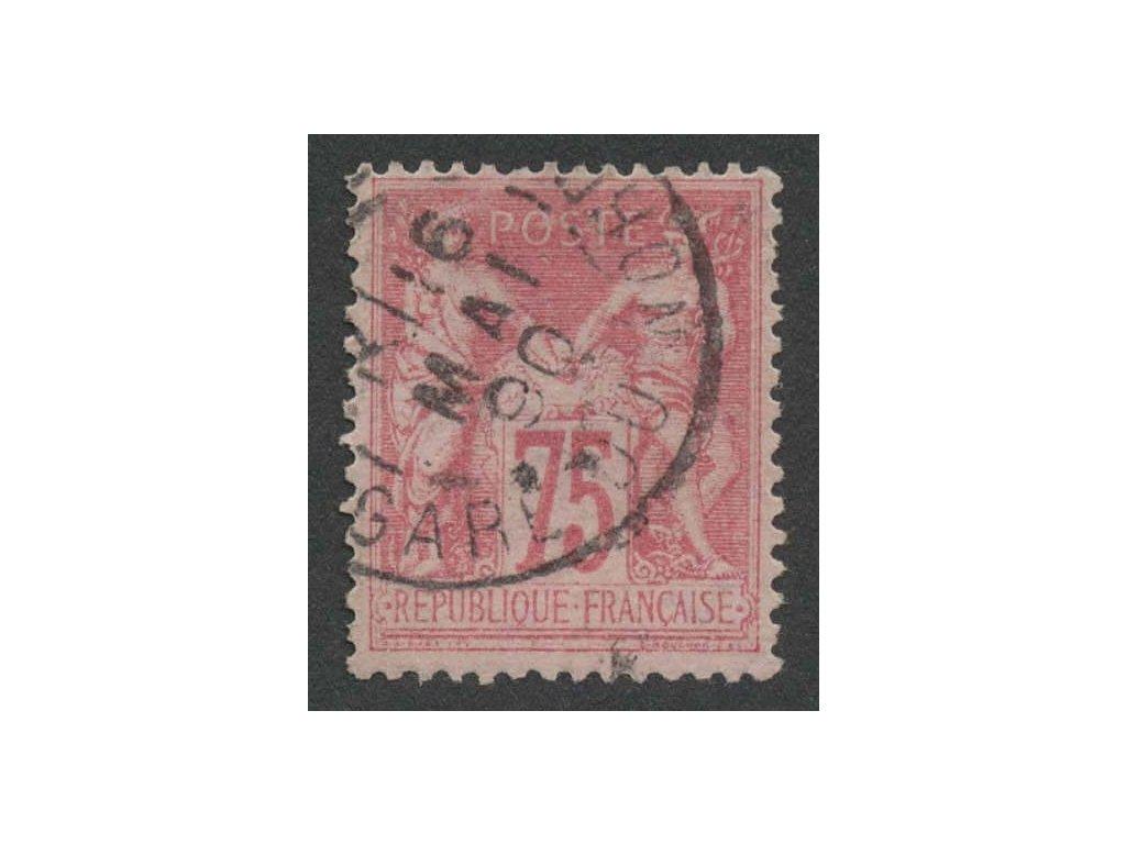 1876, 75C Alegorie, typ II., MiNr.66II, razítkované