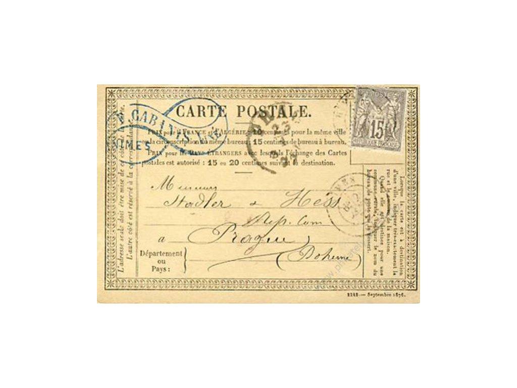 1877, DR Nimes, Carte Postale, zasl. do Čech