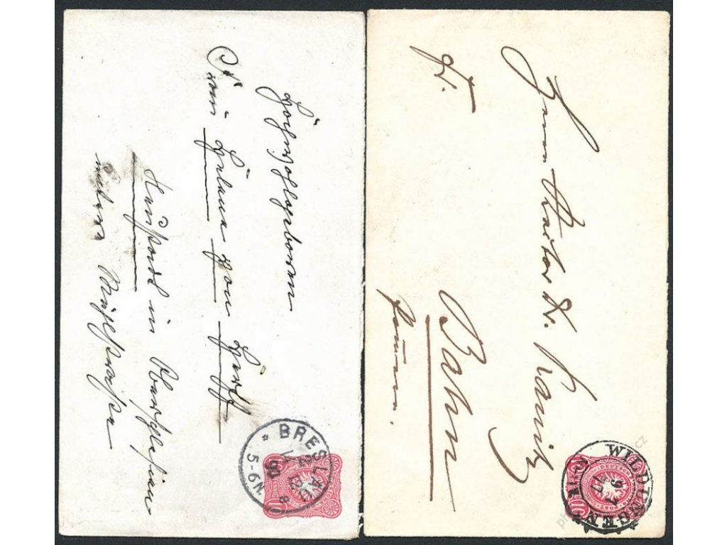 1877/90, 10Pf Orel, 2 ks celinových obálek, DR Wildungen resp. Breslau