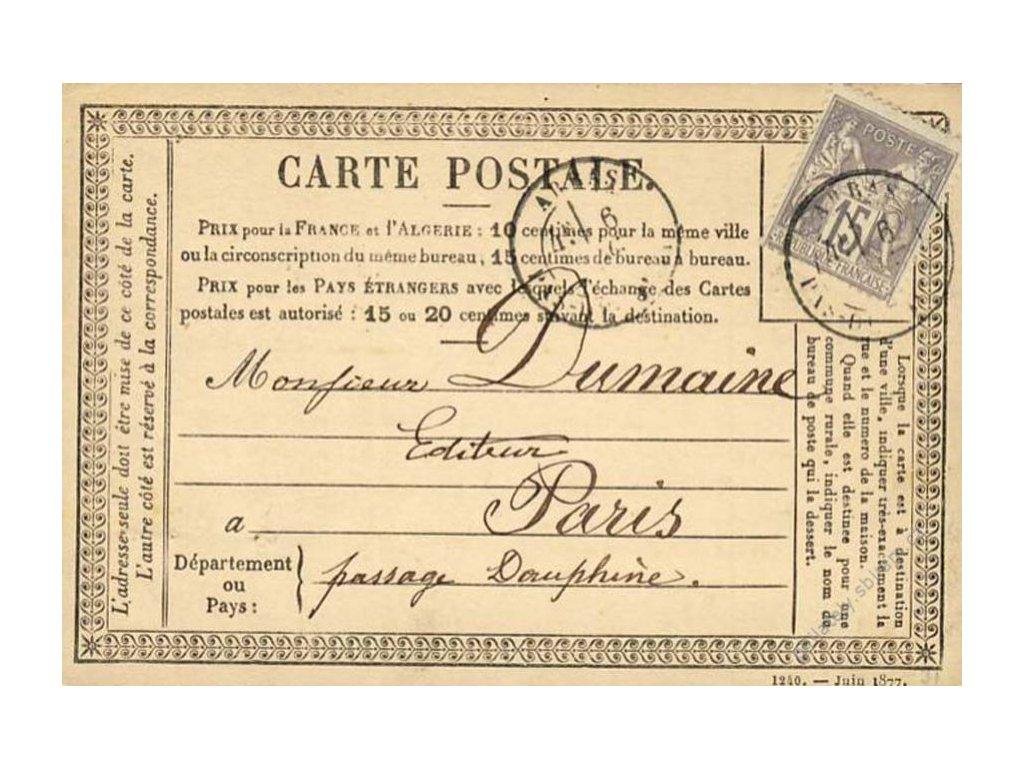 1877, DR Arras, dopisnice se zn. 15C Alegorie
