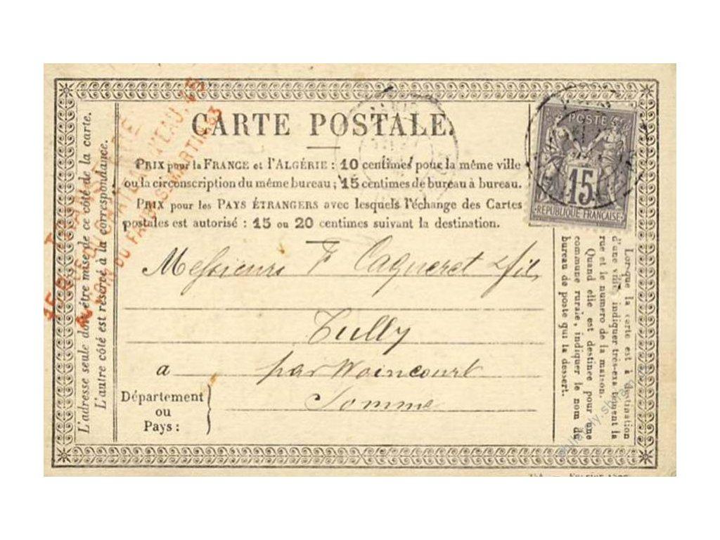 1877, DR Paris, dopisnice se zn. 15C Alegorie