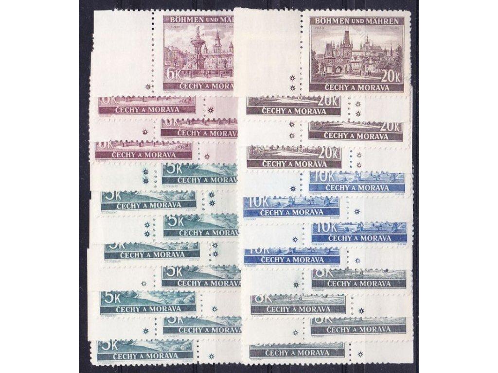 1940, 5-20K Krajinky, hvězdičky a křížky na obě strany, kompletní, 24 ks, Nr.45-9, **