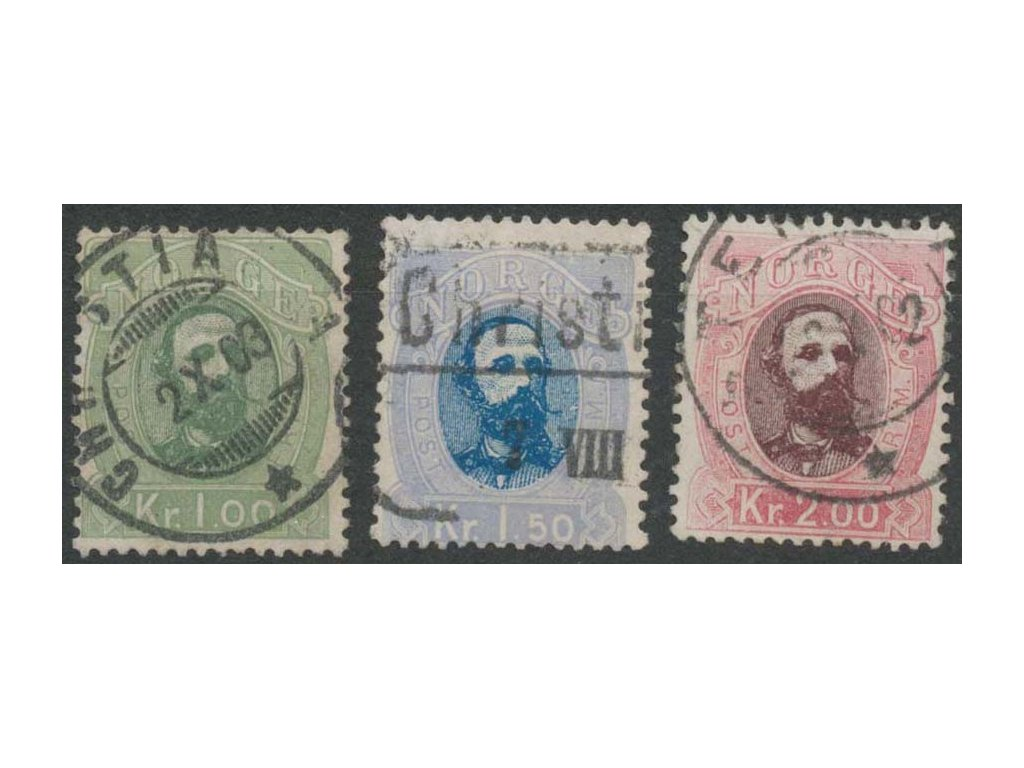 1878, 1-2Kr série Oskar, MiNr.32-34, razítkované