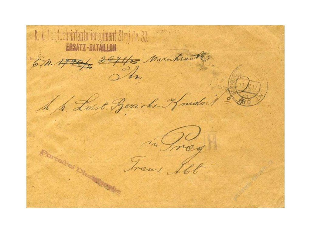 No.180, obálka, zasláno v roce 1917 do Prahy