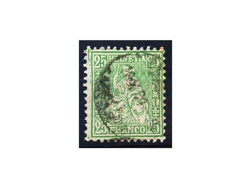 1881, 25C Helvetia, faserpapier, razítkované