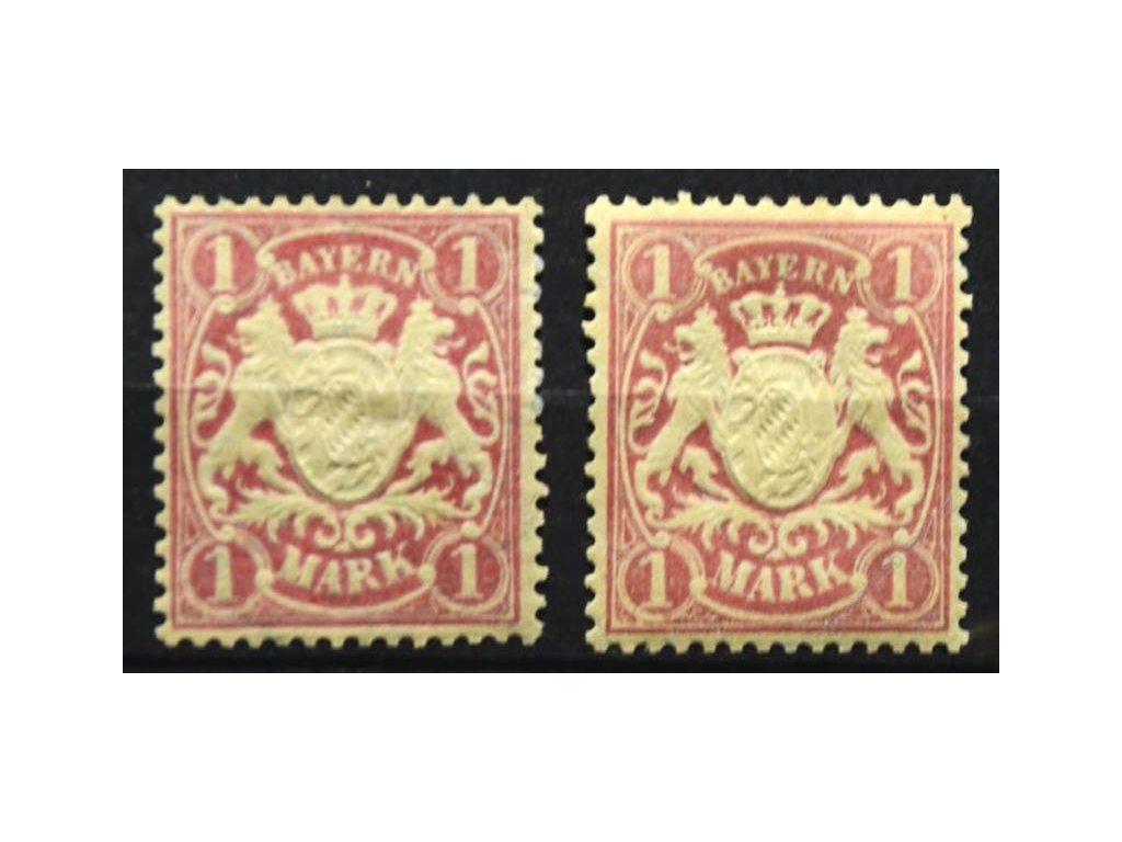 Bayern, 1881/1911, 1M Znak, 2 ks - různá vydání, * po nálepce
