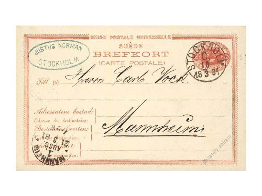 1881, DR Stockholm, dopisnice zasl. do Německa