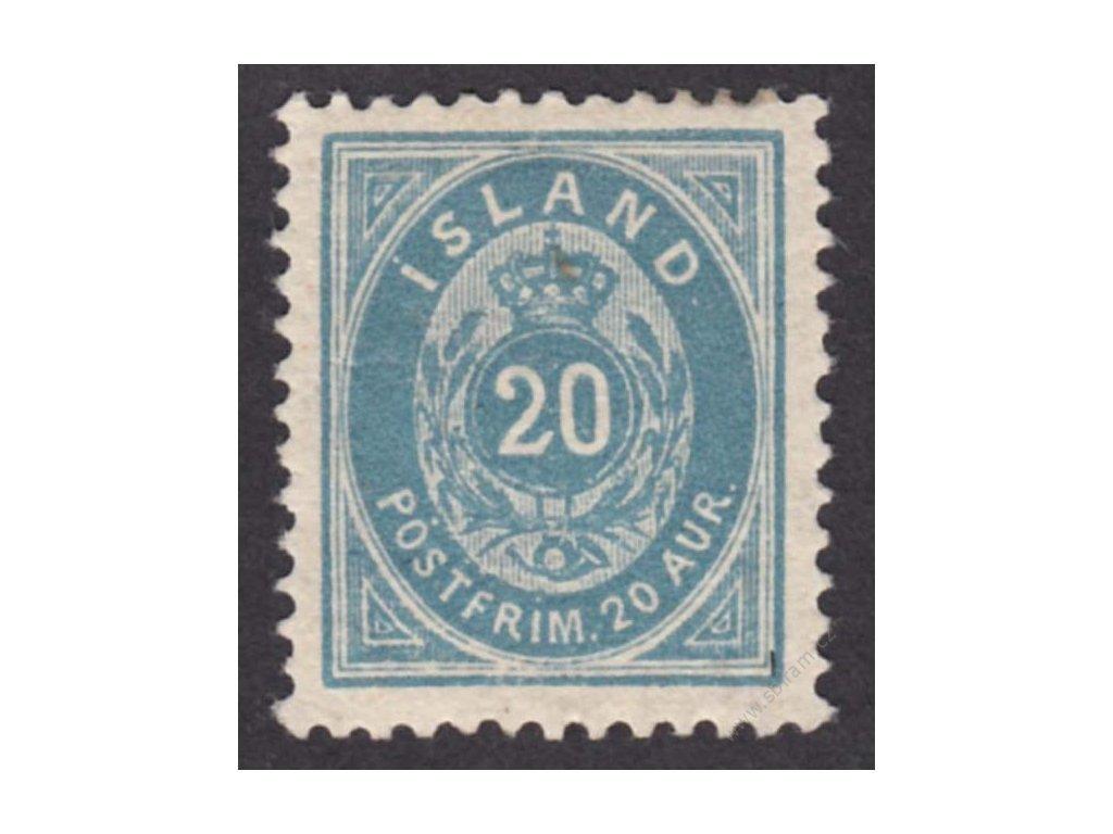 1882, 20A modrá, MiNr.14Ba, **