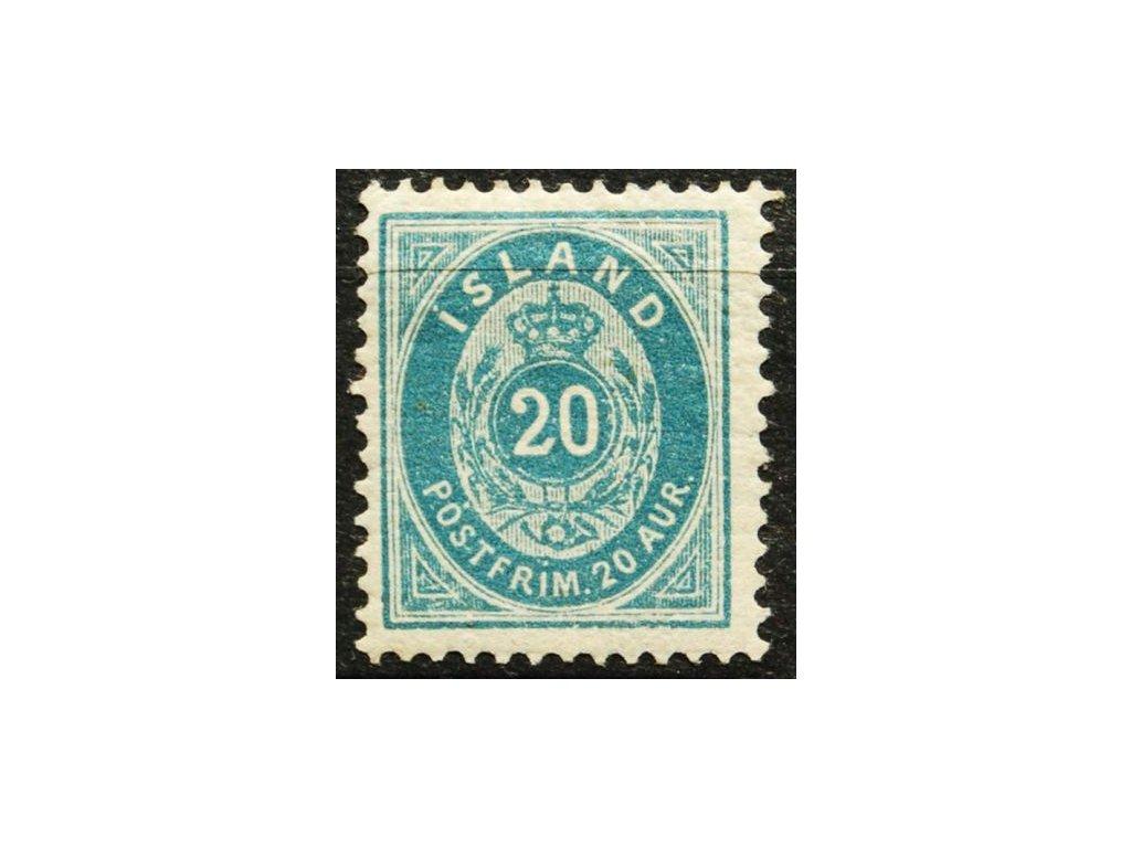 1882, 20A modrá, MiNr.14B, * po nálepce