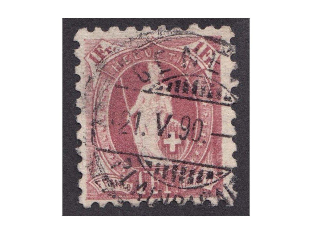 1882, 1Fr Helvetie, Řz. 9 3/4:9 1/4, razítko, kz, dv