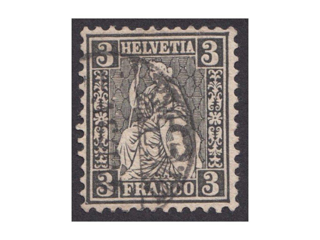 1882, 3C Helvetie, MiNr.21, razítkované, lehký lom