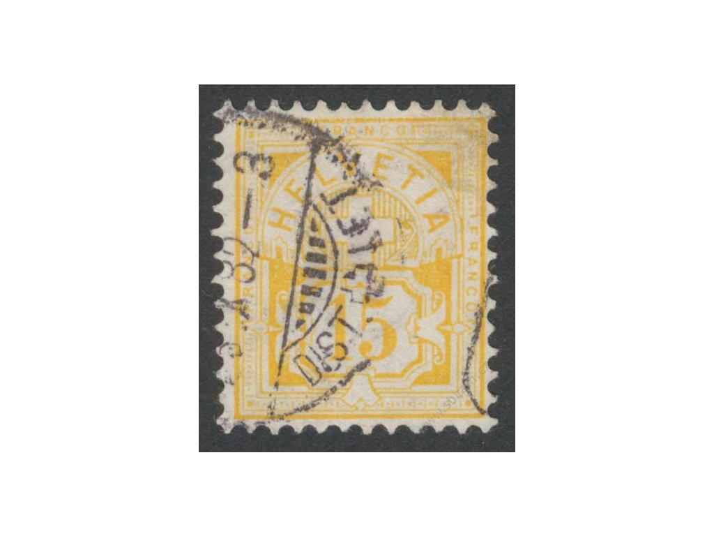 1882, 15C žlutookrová, razítkované, fald v růžku