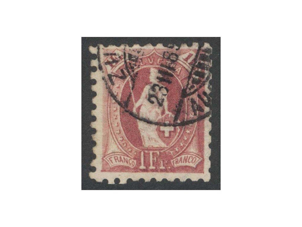1882, 1Fr Helvetie, K 9 3/4:9 1/4, razítkované, vzácné