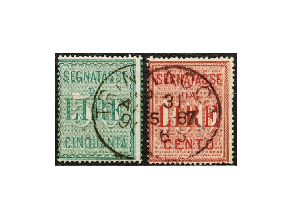 1884, 50-100L Verrechnungsmarken, razítkované