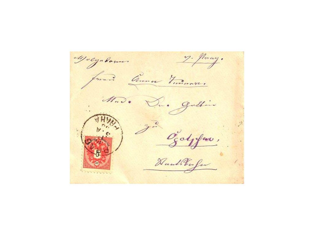 1885, Prag, dopis vyfr. zn. 5Kr Orlíček