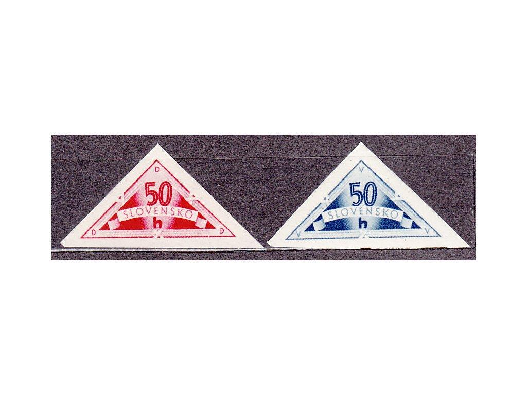 Slovenská 50h modrá a červená doruční, Nr.DR1-2, **, ilustrační foto