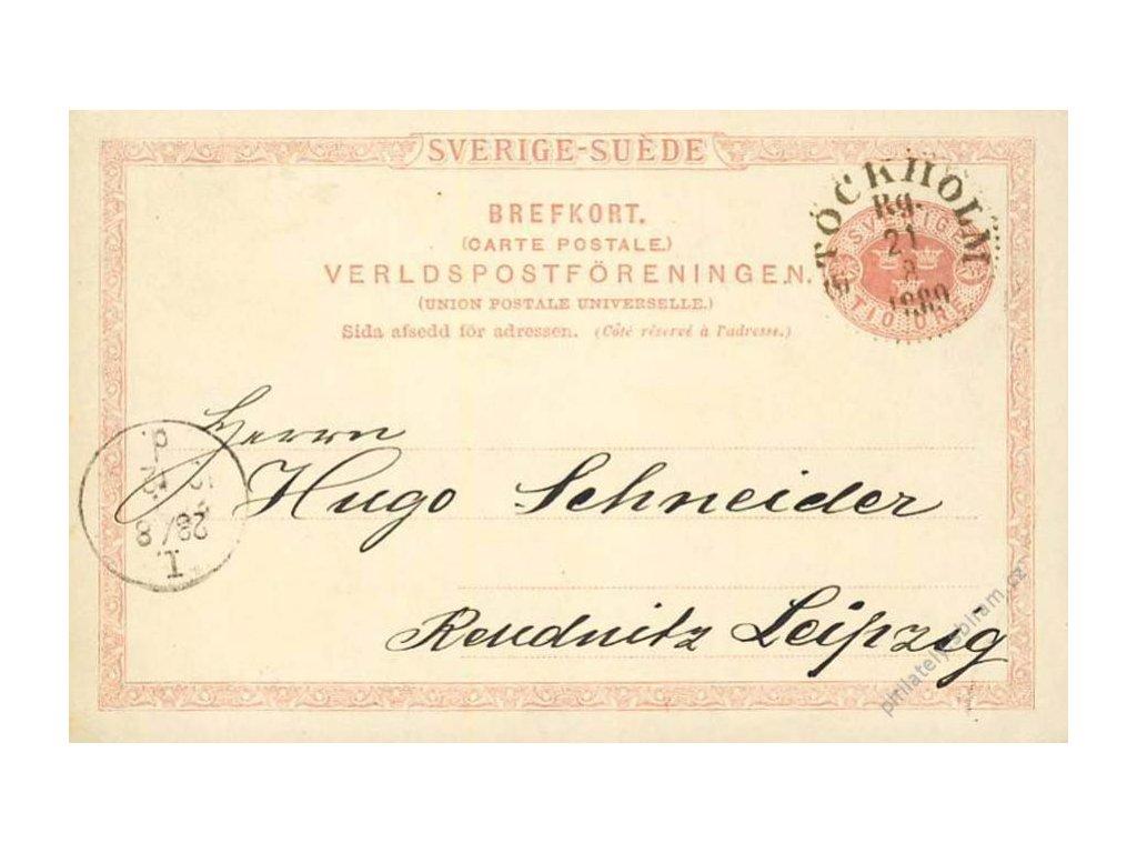 1889, DR Stockholm, dopisnice zasl. do Německa